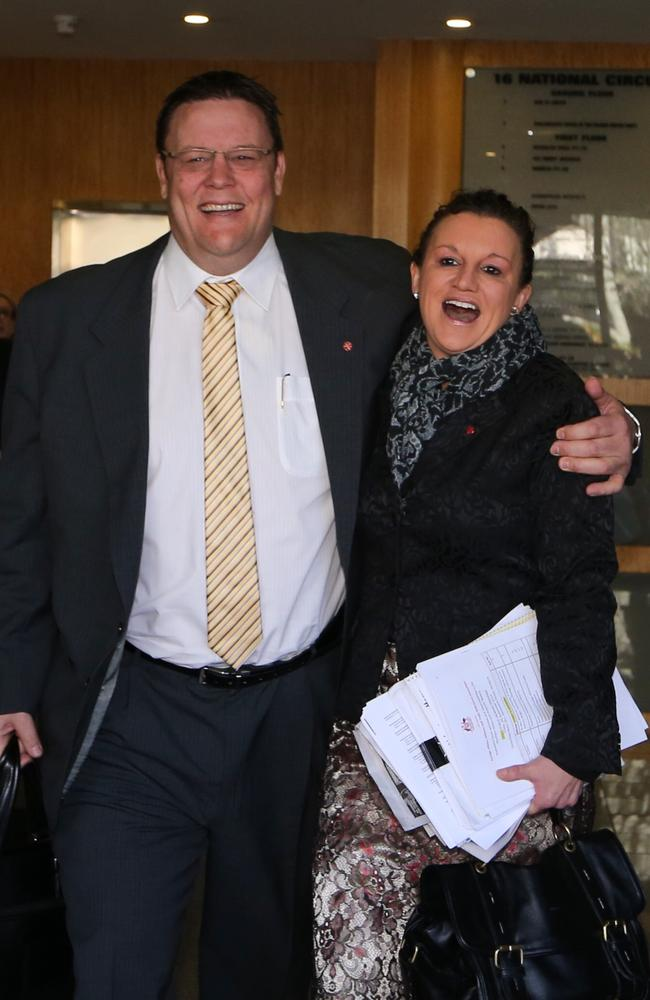 United front ... Palmer United Party Senators Glenn Lazarus and Jacqui Lambie leave together after their morning briefing at their Canberra office.