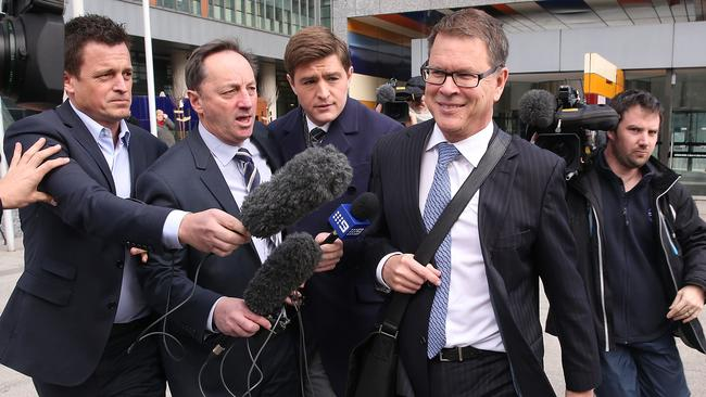 ASADA's Tevor Burgess faces the media after giving evidence in the Federal Court.