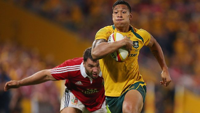 Wallabies winger Israel Folau makes a break to score a try against the British & Irish Lions at Suncorp Stadium. Picture: Chris Hyde