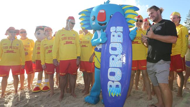 Borobi, the surfing Koala, was revealed on Monday at Burleigh Heads. Picture Glenn Hampson