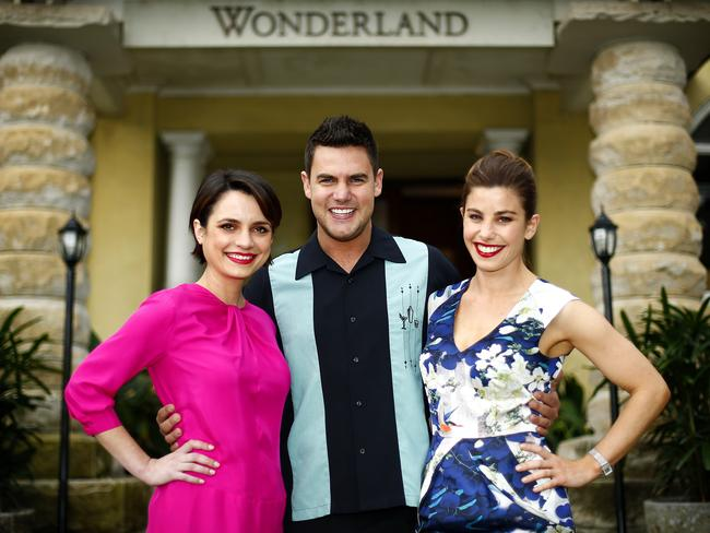 Eye candy <i> ... Wonderland</i>'s Jessica Toovey, Ben Mingay and Brooke Satchwell. Picture: Bradley Hunter