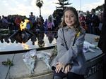 The 2014 ANZAC Day Dawn Service at Kings Park in Perth is attended by around 40,000 people. pictured is Chloe Marlow (11) who sang the Australian National Anthem at the service. Picture: Justin Benson-Cooper