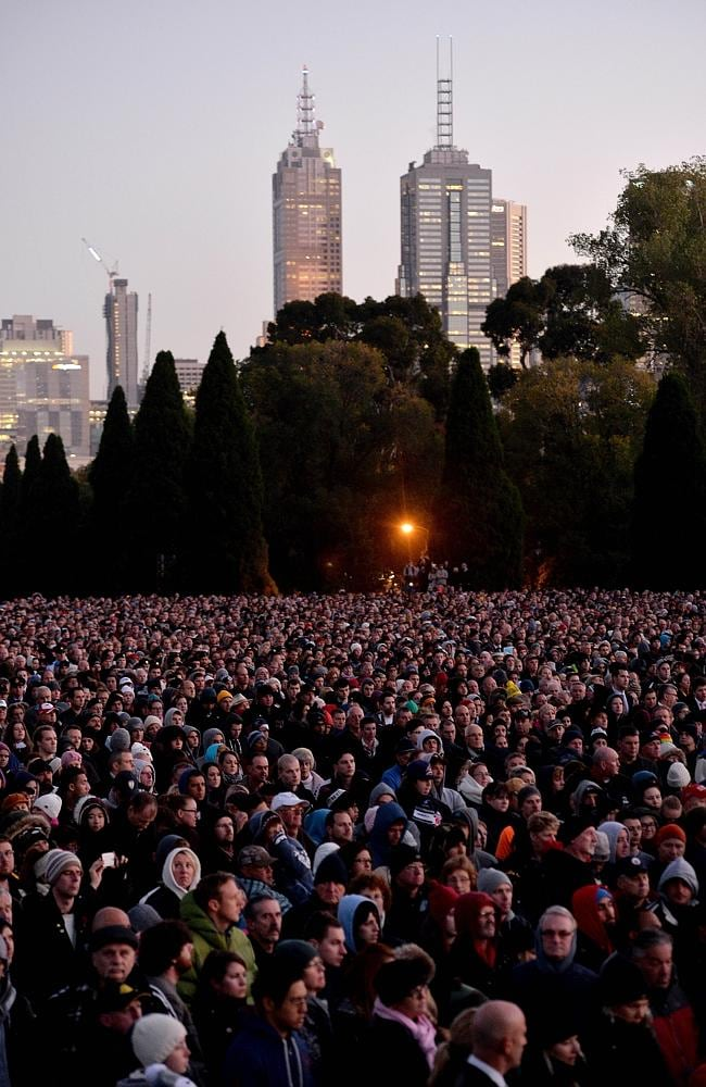 Melburnians turned out in droves for the dawn service at the Shrine of Remembrance. Picture: Nicole Garmston