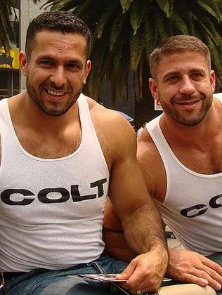 Carlo Masi and boyfriend Adam Champ during their Colt days. Picture: Supplied