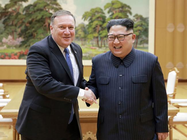 Mr Pompeo and Kim meet on May 9. Picture: KCNA vis KNS/AFP