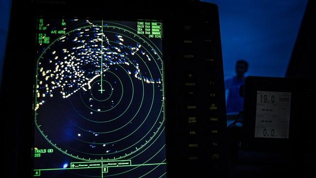 A navigational radar shows some underwater objects in the Andaman Sea.