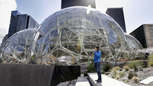 The Amazon.com campus in Seattle will include a botanic garden, waterfalls and tree house-like spaces overlooking tropical gardens once it is open. Picture: Elaine Thompson