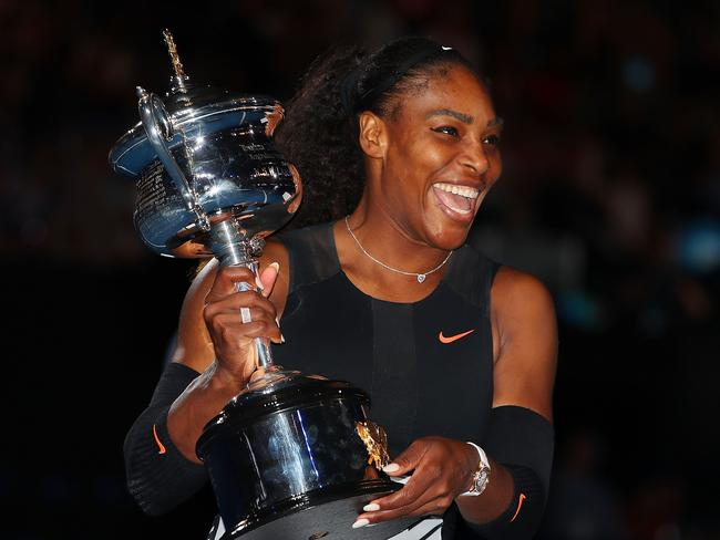 Williams celebrates her Australian Open win.