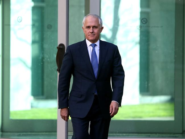 Malcolm Turnbull before his press conference at Parliament House in Canberra yesterday afternoon.