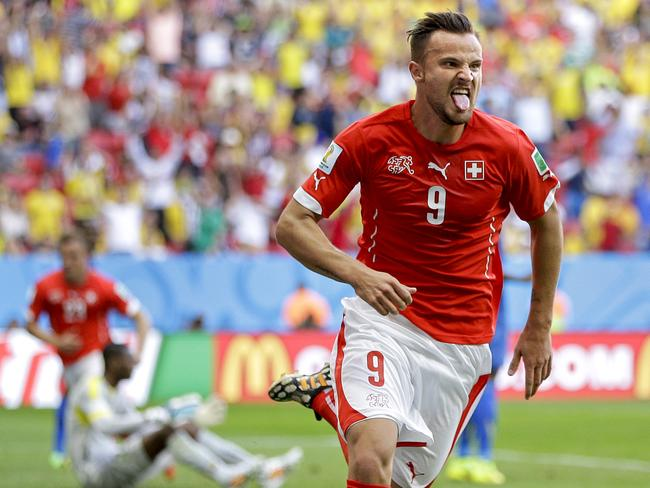 Switzerland's Haris Seferovic scores the winner for Switzerland against Ecuador at the World Cup.