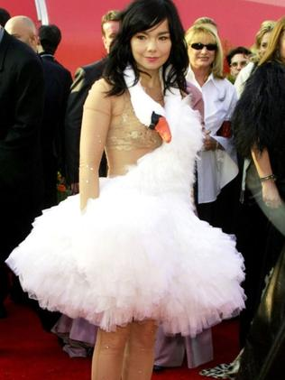 Bjork in her swan dress, which she wore to the Grammys in 2005.