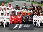 F1 drivers pose for a group photo.