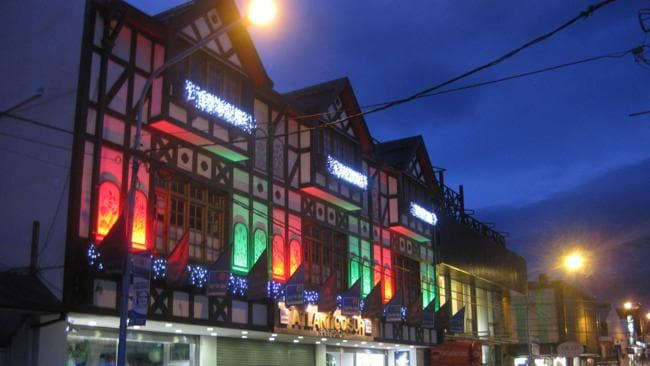 Shops selling outdoor wear line Ushuaia's main street. Picture: Brad Crouch.