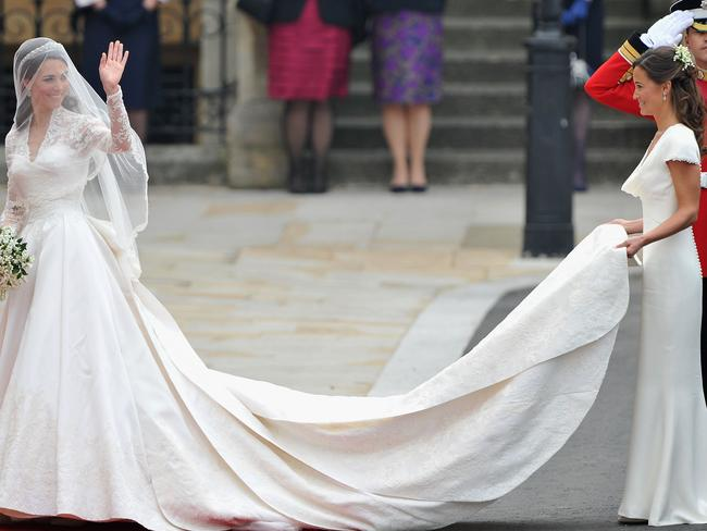 Pippa Middleton acting as maid of honour at her sister Kate Middleton's 2011 royal wedding. Picture: Pascal Le Segretain