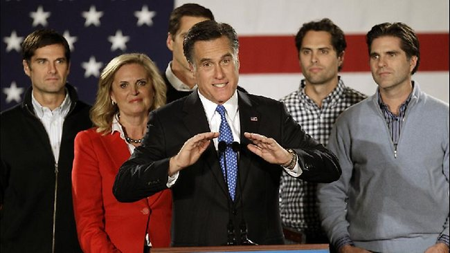 Mitt Romney with his wife Ann and their sons (left to right) Matt, Josh, Craig and Tagg. The family has come out swinging.