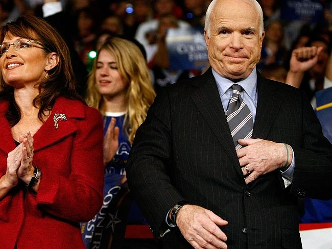 Republican US presidential nominee Senator John McCain pictured with his then vice presidential running mate in 2008.