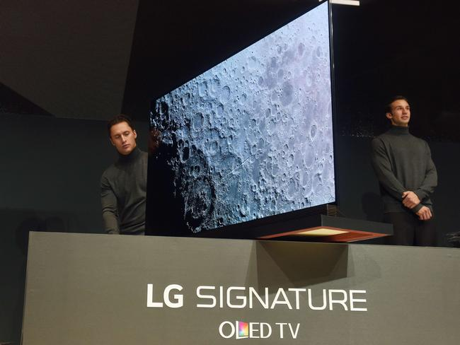 "Super sleek ... the new LG television is ""quite literally a panel on glass"". Picture: AFP/Robyn Beck"