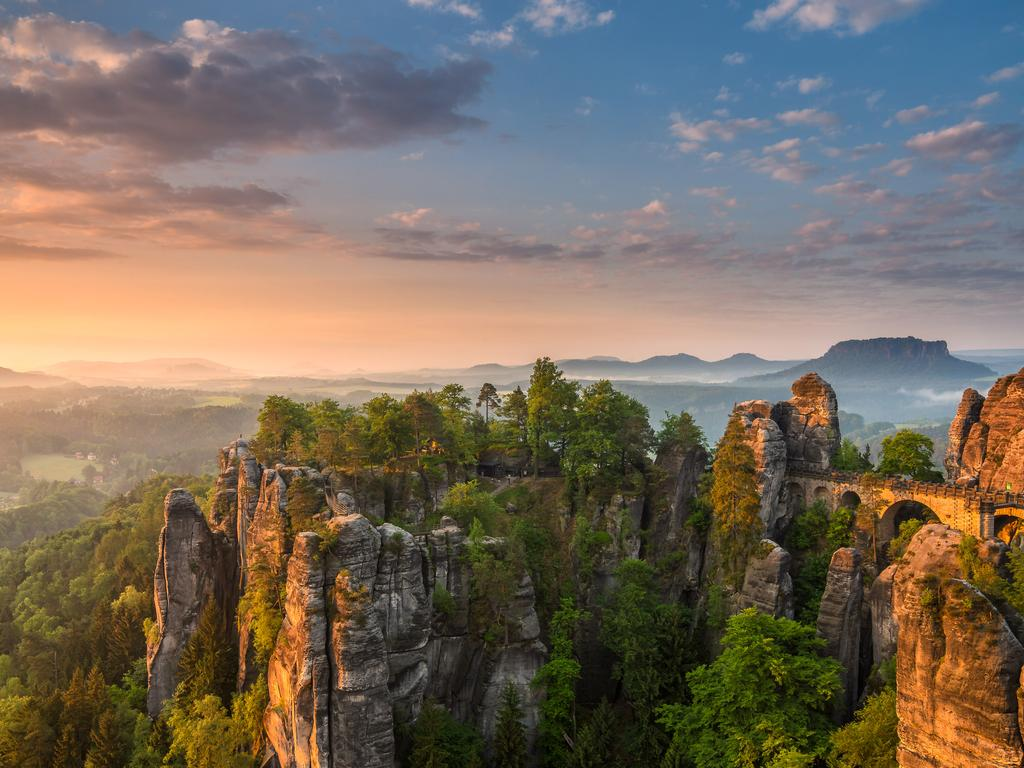"""Sunrise over the Bastei in Germany."" Picture: Christian Ringer, Germany, Shortlist, Open, Panoramic, 2016 Sony World Photography Awards"