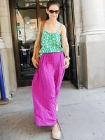 <p>Katie Holmes sports some bold colour blocking as she steps out her apartment in New York. Picture: Snappermedia</p>  <br />