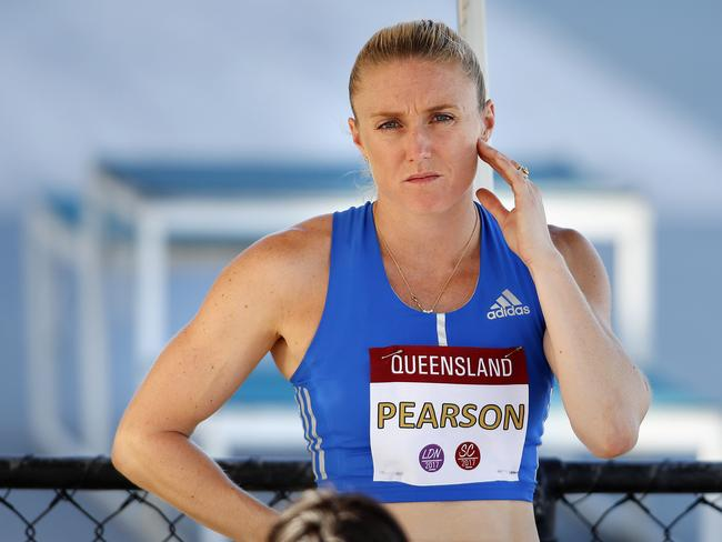 Sally Pearson before the 100m hurdles finals at the recent Queensland Open.