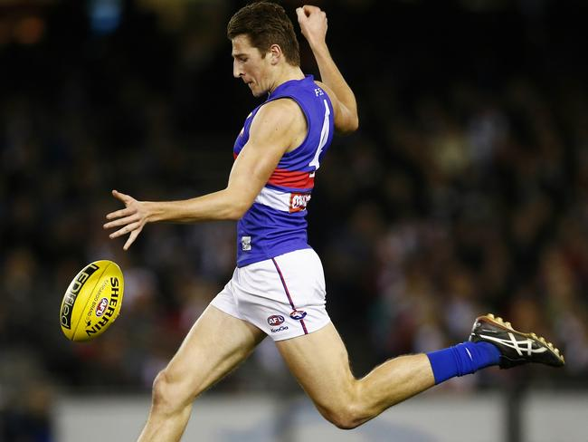 Marcus Bontempelli gets a kick away against St Kilda in Round 20. Pic: Michael Klein.