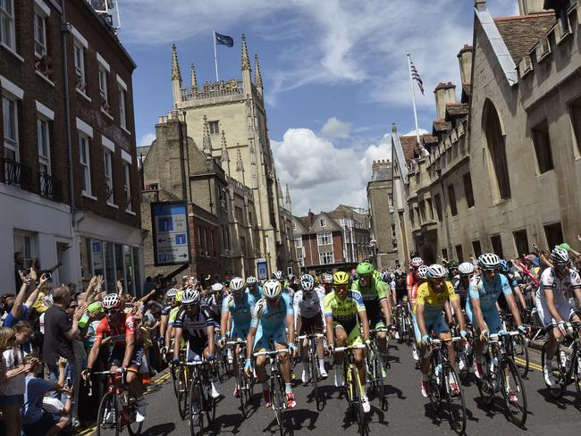 Tour de France ... Cyclists take on the third-stage leg between Cambridge and London. Picture: AFP