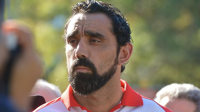 Sydney star Adam Goodes tells a press conference a commented directed at him in the final quarter against Collingwood left him devastated. Picture: Jay Town