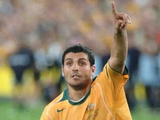 Soccer - player John Aloisi sends Australia to the World Cup with his kick in the penalty shootout during Australia v Uruguay second leg 2006 World Cup qualifier at Telstra Stadium in Sydney 18 Nov 2005.