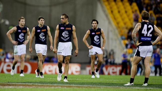 Carlton's season may have slipped away at the Gabba on Saturday night. Picture: Mark Calleja