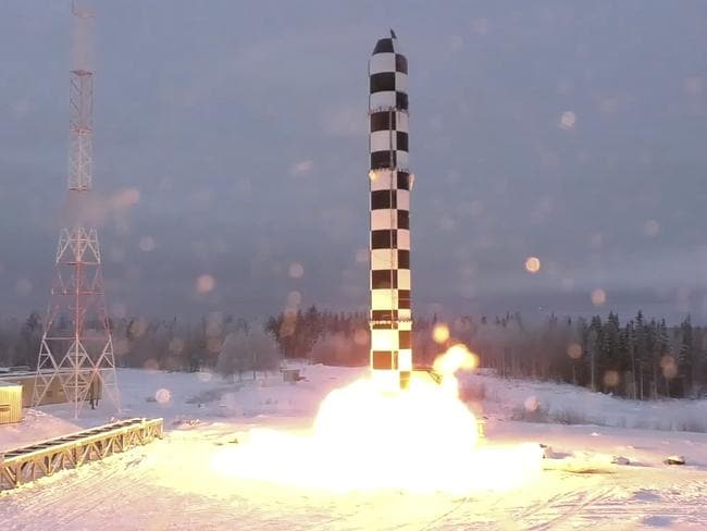 Footage apparently showing Russia's new Sarmat intercontinental ballistic missile blasting off during a test launch from an undisclosed location in Russia. Picture: RU-RTR Russian Television via AP
