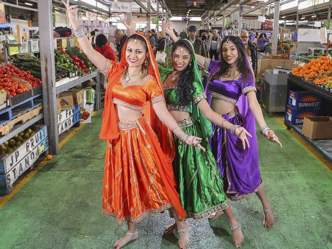Dandenong Market's annual Diwali family day will take place on October 22. Dancers from Bollydazzlers Jade Heaton, Ruvini Perera and Paaromita Chakraverty. Picture: Wayne Taylor