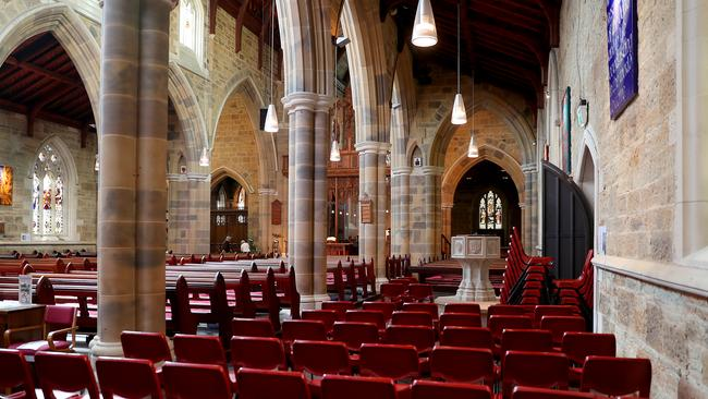 Extra seating in place for Vanessa Goodwin's state funeral service at St David's Cathedral. Picture: SAM ROSEWARNE