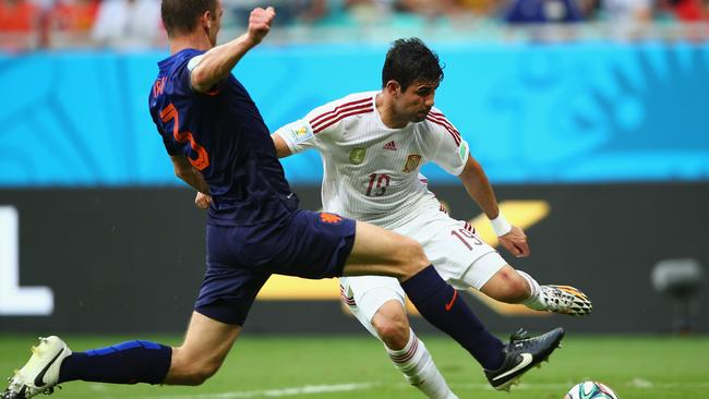 Diego Costa of Spain wins the penalty.