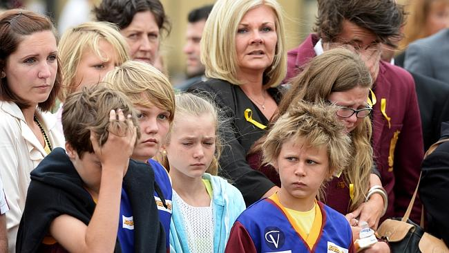 Mourners at Luke Batty's funeral.