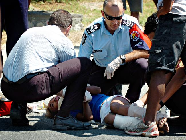 Victim ... seven-year-old Serah Kevin suffered two broken legs, authorities said. Picture: Post-Courier