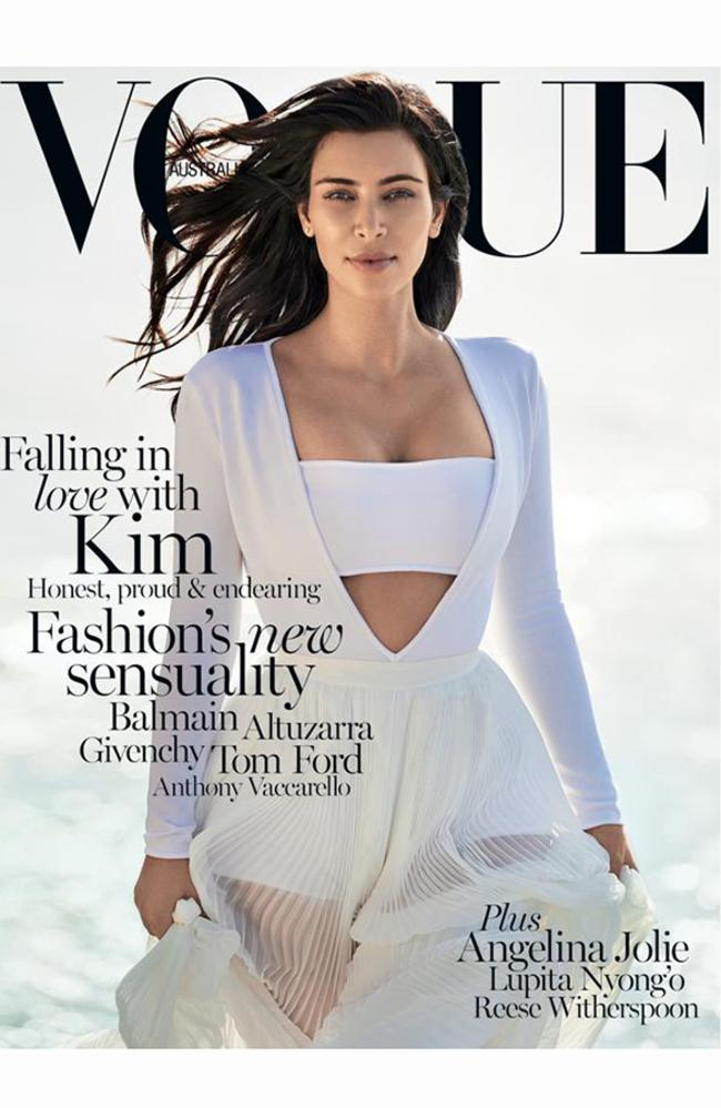 Kim Kardashian West photographed for Vogue Australia on a beach in NSW for the February 2015 issue. Picture: Gilles Bensimon/Vogue Australia.