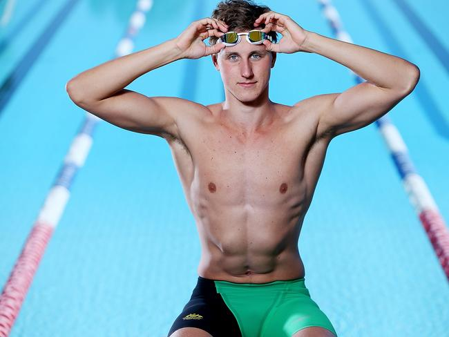 Interesting design ... Cameron McEvoy poses during the Australian Commonwealth Games Swim Team Speedo Uniform Launch.