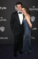New Girl's Max Greenfield and Tess Sanchez arrive at the InStyle and Warner Bros. Golden Globes afterparty. Picture: Matt Sayles/Invision/AP