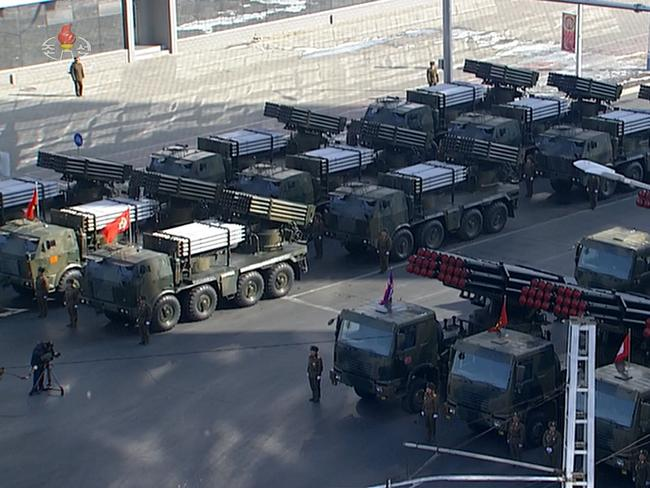 This year's parade featured plenty of weapons, many of which experts have seen before. Picture: KCNA/AFP