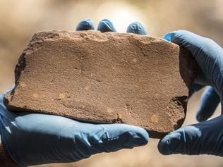 Discoveries at this rock shelter on a lease surrounded by Kakadu National Park has pushed human habitation in the area back to 65 000 years by carbon dating this grindstone.. Pic Glenn Campbell