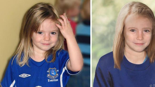 Composite photos showing three-year-old Madeleine McCann, left, with a computer generated age progression image of the missing child as she might look now, right. Photo: AP