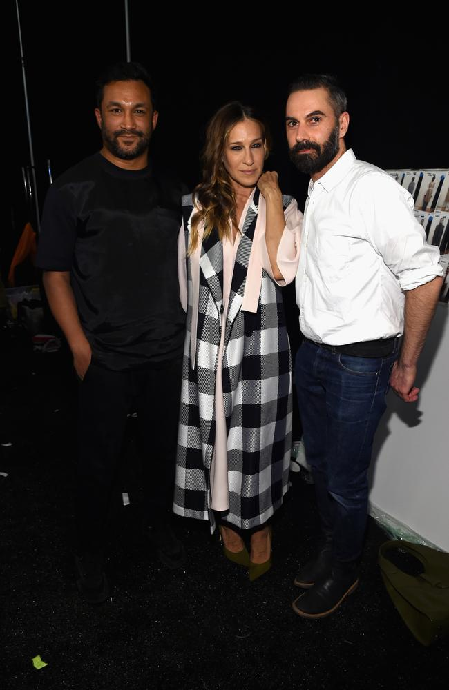 Tome designers Ryan Lobo (left) and Ramon Martin with actress Sarah Jessica Parker backstage at their fashion show during Mercedes-Benz Fashion Week in New York City this year. Picture: Larry Busacca/Getty Images for Mercedes-Benz Fashion Week