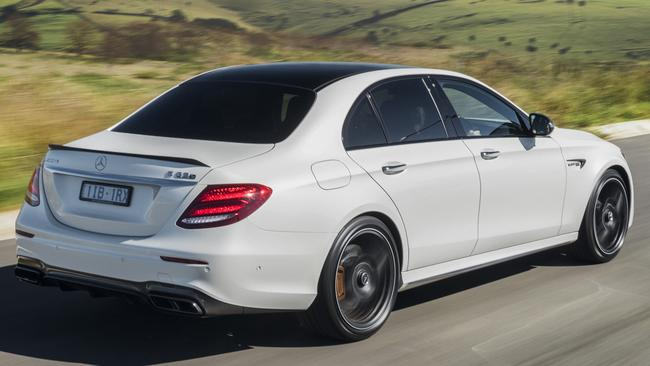 Luxury touches and all-wheel drive: E63 starts at $210K.