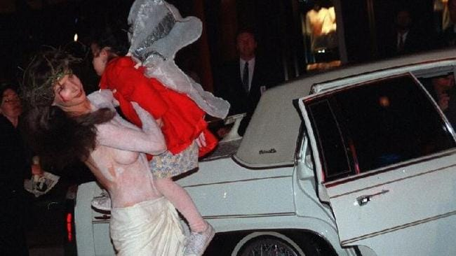 1997: Rachel Griffiths makes her protest at the opening of the Crown Casino in Melbourne.