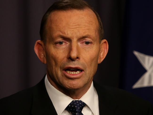 Tony Abbott at a press conference after a party room decision on same-sex marriage.