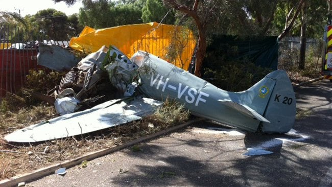 The remains of a replica World War II Spitfire plane that crashed at Frost Rd, in Salisbury, while it was flying as part of the Classic Jets airshow. Picture: SA Police