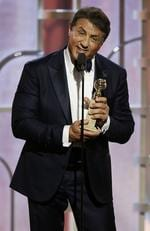 "Sylvester Stallone accepts the award for Best Supporting Actor - Motion Picture for ""Creed"" onstage during the 73rd Annual Golden Globe Awards at The Beverly Hilton Hotel on January 10, 2016 in Beverly Hills, California. (Photo by Paul Drinkwater/NBCUniversal via Getty Images)"