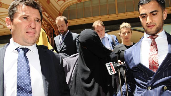 Fatima Elomar leaves Downing Centre District Court after pleading guilty to charges of supporting terrorism. Picture: Toby Zerna