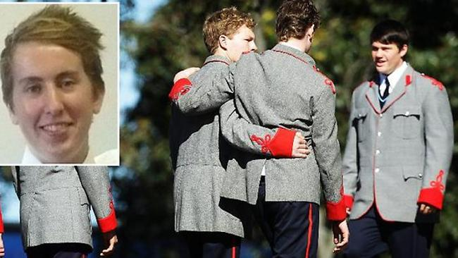Tragedy ... Thomas's friends support each other at his funeral last year. Picture: News Corp Australia
