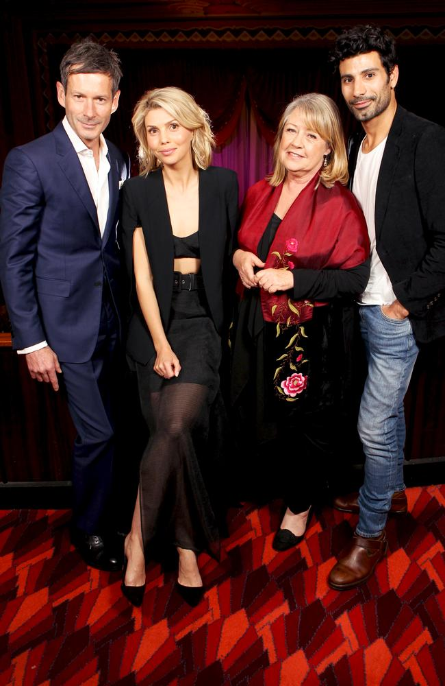 A Place to Call Home actors Brett Climo, Abby Earl, Noni Hazlehurst and Aldo Mignone at the exclusive screening of the new series at The Hayden Orpheum Picture Palace in Cremorne, Sydney. Picture: Christian Gilles